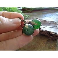 ꧁ GRANDE AGATA VERDE SCURO IN BRONZO ꧂ ORECCHINI vintage, pietra semipreziosa in verde