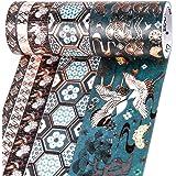PuTwo Washi Tape, Masking Tape 5 Rouleaux, 8mm/10mm/30mm/50mm Ruban Adhésif Décoratif, Washi Tape Japonais en Washi, Ruban Ad