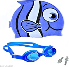 Great Master Silicon Junior Fish Swim Cap With goggles(blue)