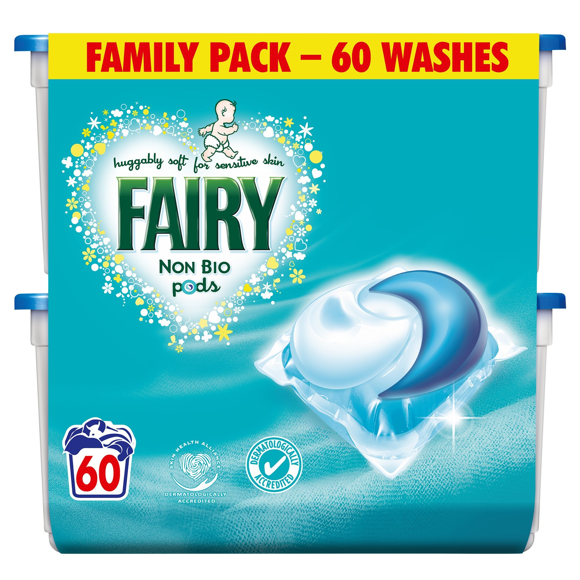 No1 New Fairy Non Bio Pods Washing Capsules 3 X 60 Pack