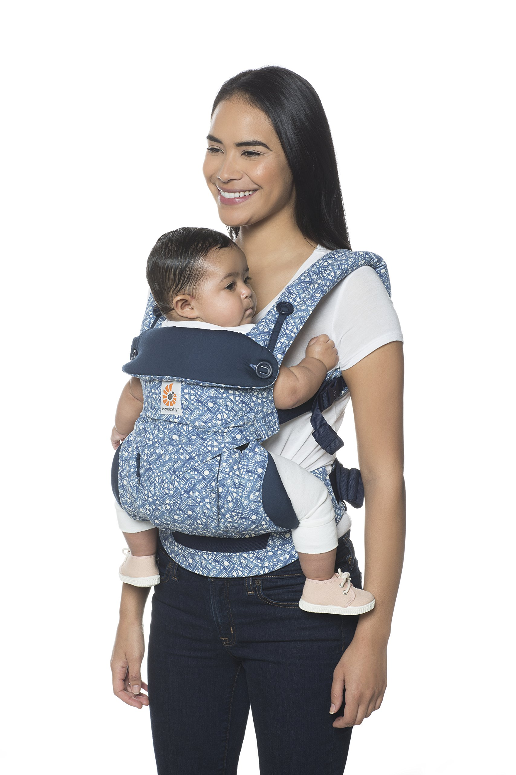 Ergobaby Baby Carrier 6 month plus 360 Limited Edition Batik Indigo, 4 Ergonomic Carry Positions, Front Facing Baby Carrier, Backpack Ergobaby Ergonomic baby carrier with 4 ergonomic carry positions: front-inward, back, hip, and front-outward. The carrier is suitable for babies and toddlers weighing 5.5-20 kg (12-45 lbs), and can be used as a back carrier. Also with insert for newborn babies weighing 3.2-5.5 kg (7-12 lbs), sold separately. NEW - The waistbelt with lumbar support can be worn a little higher or lower to support the lower back and provide optimal comfort, and has adjustable padded shoulder straps. The carrier is suitable for men and women. Maximum baby comfort - The structured bucket seat supports the correct frog-leg position for the baby. The carrier also has a padded, foldable head and neck support. Ergobaby carriers are a new take on the usual baby sling. 7