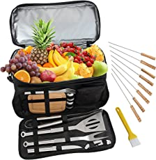 Romanticist BBQ Grill-Zubehör-Werkzeug-Set mit 15 können Isoliert Kühltasche