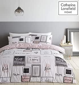 Catherine Lansfield Sleep Dreams - Set copripiumino per letto king size, colore: Fard