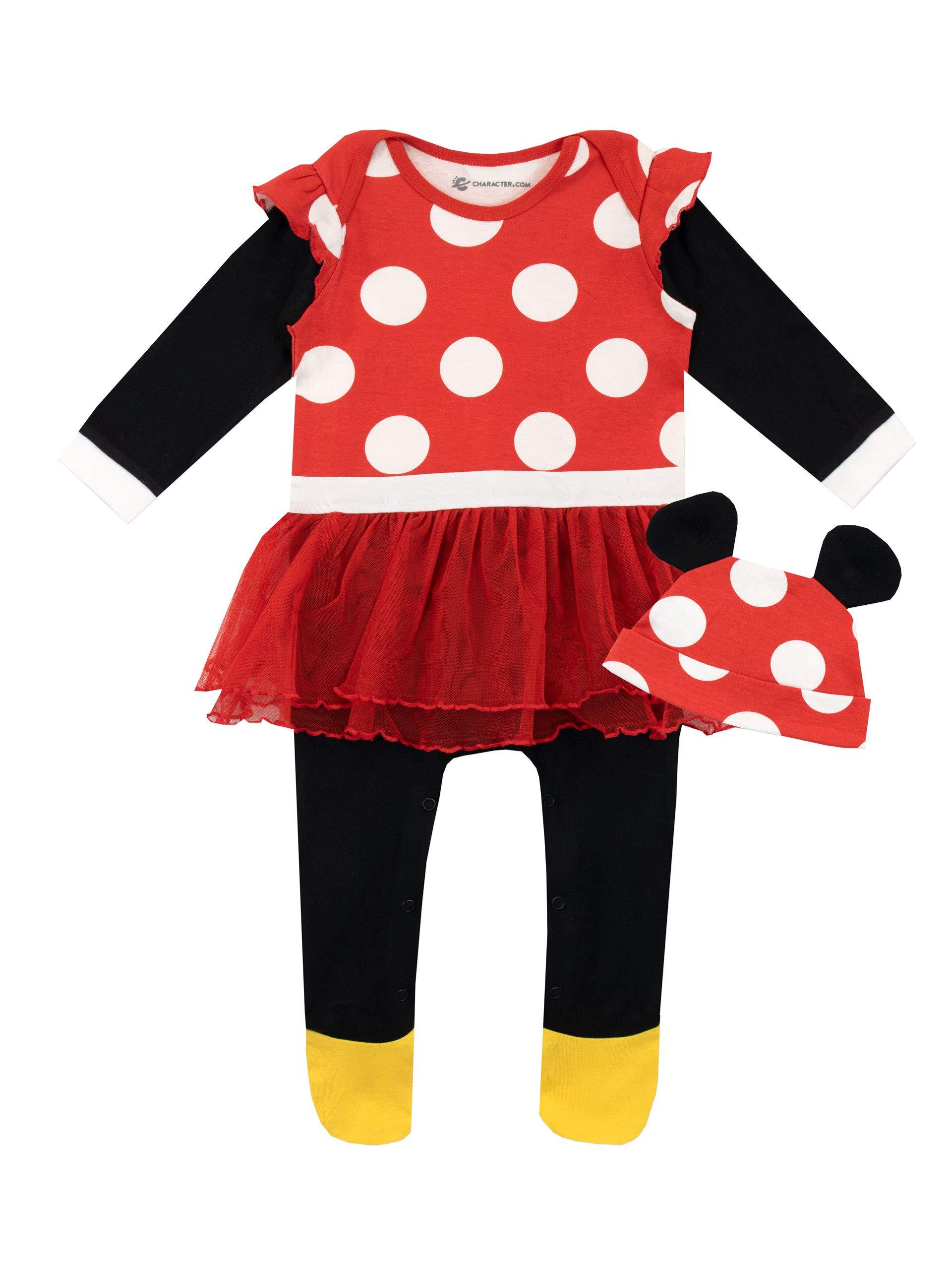 Disney Pijama Conjunto de Pijama Entera y Gorro para Niñas Bebés Minnie Mouse 1