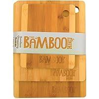 The Bamboo Crew Set di 3 taglieri da cucina in legno  ndash  tagliere resistente in legno di bambo Moso di alta qualit agrave    ecologico ed ecosostenibile  ndash  ideale per tagliare o servire formaggi  salumi  pizza