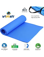 VI FITKIT Yoga Mat Anti Skid EVA Yoga mat for Gym Workout and Flooring Exercise Long Size Yoga Mate for Men Women (Color - Blue)