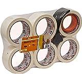 Brackit Afplaktape met dispenser, 48 mm x 30 M, 6 rollen - compacte dispenser en snijder inbegrepen voor eenvoudige en snelle