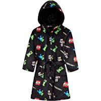 Minecraft Dressing Gown Boys, Kids Fleece Hooded Dressing Gowns Kids with Creeper Design, Super Soft Children Robes, Official Merchandise, Gifts for Gamers Boys Girls
