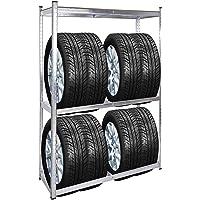 WilTec Rayonnage pour pneus Rack à pneus 180x120x40cm Etagère d'atelier Charge Lourde Stockage