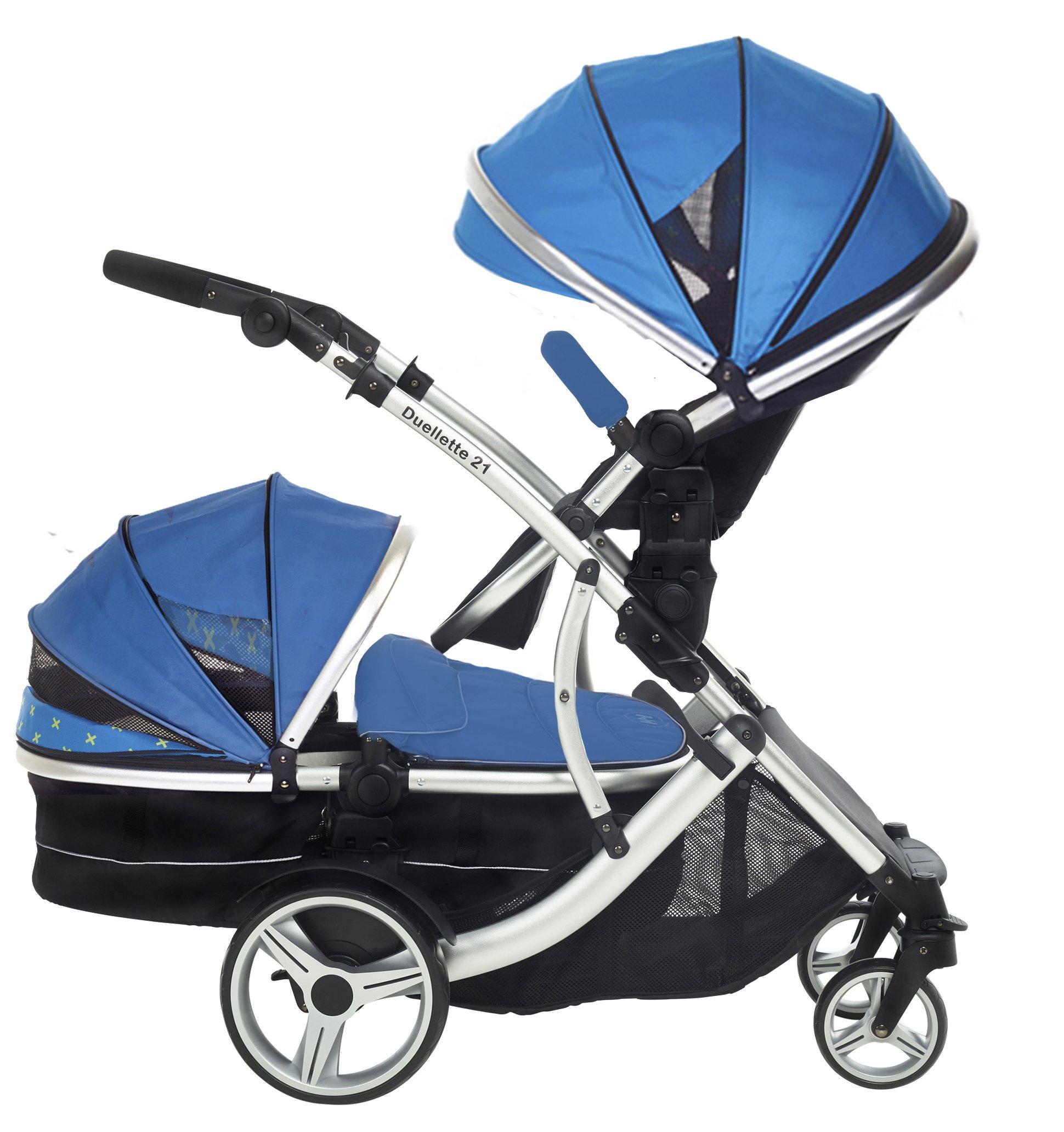 Duellette 21 BS Combo Double Twin Pushchair Baby Newborn carrycots Pram Travel system Tandem stroller buggy: 1 Pramette/seat unit for newborn baby, 1 seat unit for toddler 2 footmuffs 2 Rain covers, Teal Mist by Kids Kargo  kids kargo