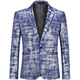 YYNUDA Men's Casual Blazer Slim Fit Smart Formal One Button Suit Jacket Hot Sliver Tuxedo