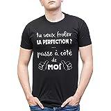 L'abricot blanc T-Shirt Humour Homme: Si tu Veux froler la Perfection Passe à coté de Moi - Idée Cadeau garçon et ado - Messa