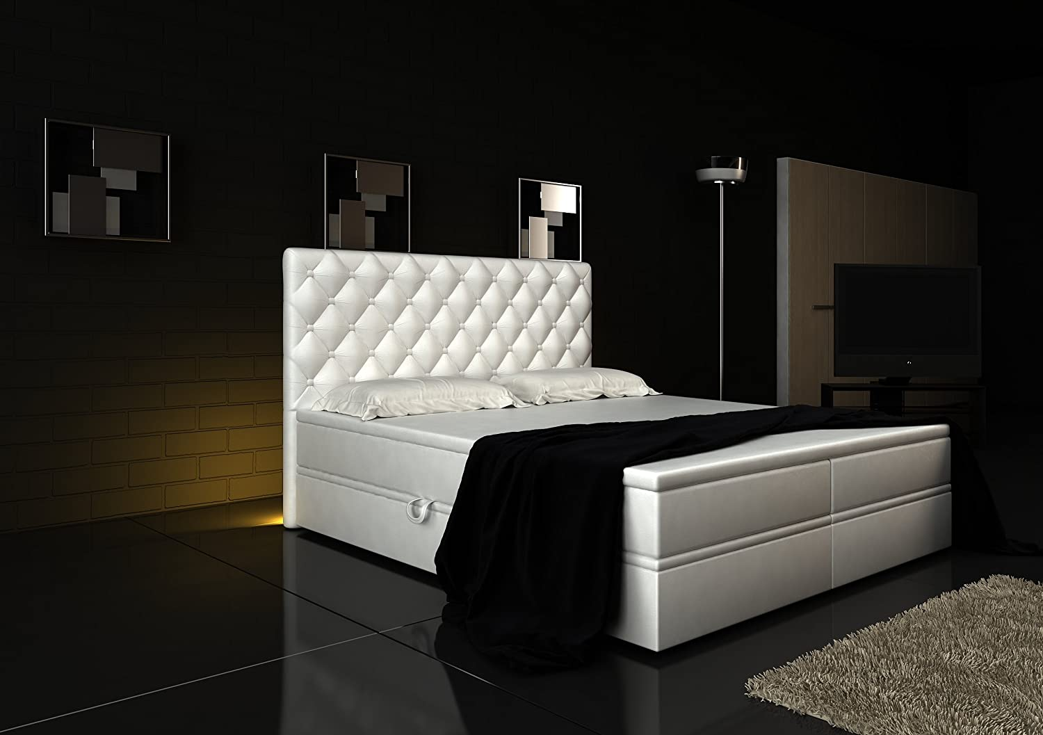 boxspringbett wei. Black Bedroom Furniture Sets. Home Design Ideas