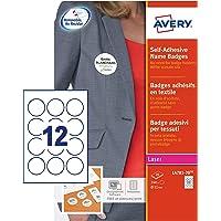 AVERY - Pochette de 240 badges ronds autocollants imprimables pour textile, En soie d'acétate blanche, Diamètre 51 mm…