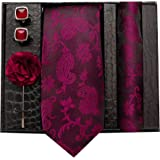nu-Lite Formal/Casual Printed Polyester Necktie Set with Pocket Square, Lapel Pin and Cufflinks for Men