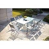CONCEPT USINE - Salon De Jardin Molvina 8 Personnes Extensible Gris Clair - 1 Table en Aluminium - 8 Chaises en Acier - Plate