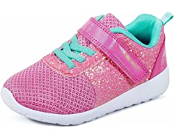 Girls Trainers Kids Athletic Shoes Toddlers Glitter Casual Lightweight Sneakers Sports Shoes Breathable Tennis Road Trail Run