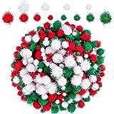 BQTQ 1200 Pièces Pompons Pailleté de Noël Rouge, Vert, Blanc Pom Poms à Paillettes Loisirs Creatifs Pom Poms pour DIY et Déco