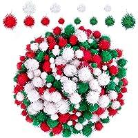 BQTQ 1200 Pièces Pompons Pailleté de Noël Rouge, Vert, Blanc Pom Poms à Paillettes Loisirs Creatifs Pom Poms pour DIY et…