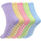 Firtink 5 Pairs Women Fluffy Socks, Fuzzy Soft Warm Cosy Crew Socks with Non Slip Grips for Winter