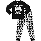 Pijama largo de algodón para niños Play Now Sleep Later Gaming color blanco