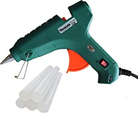Themisto 80W Hot melt Glue Gun with 5 Hot Melt Glue Sticks/with Triple Power Rapid Heating and Quick Melt for Arts and Crafts, Household Sealing, Toys,Repairs and DIY Projects (Transparent Sticks)