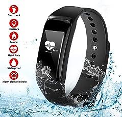 Suntop Fitness Tracker,Fitness Activity Tracker Cardio Impermeabile IP67 Cardiofrequenzimetro da Polso Contapassi Braccialetto Pedometro Smart Watch per Android Smartphone