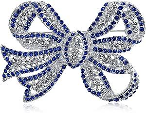 Grande Dichiarazione Vintage Stile Royal Blue Clear Bridal Ribbon Crystal Brof Spilla Pin per Donna Argento Placcato