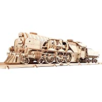 UGears 3D Puzzle Train V-Express Steam Train with Tender Antique Train Engine for Adults | Steam Engine Train Models to…