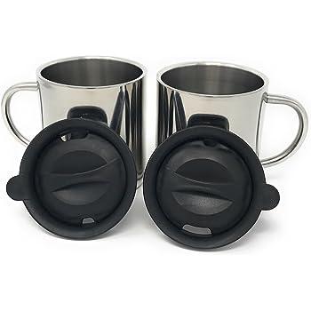 heecn camping becher 300 ml mit deckel doppelwandig edelstahl kaffee tasse k che. Black Bedroom Furniture Sets. Home Design Ideas