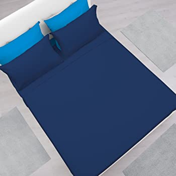 Elemental - Completo lenzuola e federa letto Matrimoniale in morbida microfibra, tinta unita, colore Navy