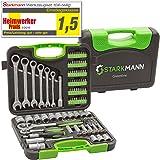 STARKMANN Greenline Steckschlüssel-Satz Gabelschlüssel mit Ratschenfunktion Werkzeug Box Kiste Bits Maulgabelschlüssel…