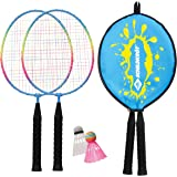 Schildkröt Funsports, Schildkröt Junior Badminton Set, 2 Racchette accorciate 45,5 cm, 2 volani, in Una Copertura 3/4, 970901