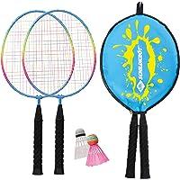 Schildkröt Kinder Federball Set Junior, 2 verkürzte Schläger 45,5 cm, 2 Federbälle, in 3/4 Hülle, 970901