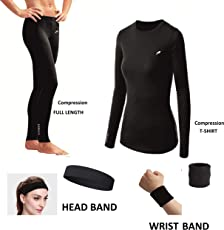 Rider Full Length Compression LOWER With Full Sleeve T-SHIRT 100% COTTON WRIST BAND & HEAD BAND Free Multi Sports Exercise/Gym/Running/Yoga/Other Outdoor inner wear for Sports - Skin Tight Fitting - Black Color 4 pcs combo