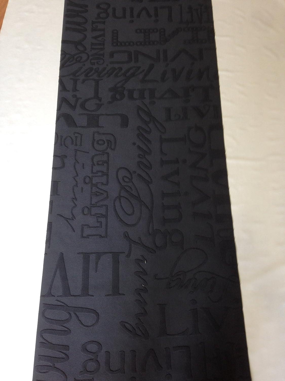 Tappeto cucina 67 X 300 living design scritte nero grigio lavabile ...