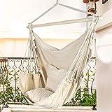 ارجوحة كرسي بحبل تعليق ووسادتين وقضيب تمدد خشبي وتصميم كرسي للاماكن المغلقة والمفتوحة من استر - بيج