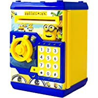 Krireen Plastic Coin Bank| Minion Piggy Bank with Lock and Password for Kids | Saving Box, Multicolour