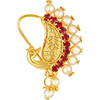 Vighnaharta Gold Plated Red Stone with Peals Alloy Maharashtrian Nath Nathiya./ Nose Pin for women VFJ1006NTH-TAR