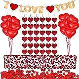 Kit decorazioni 1000 pezzi Petali di rosa rossa 10 pezzi Palloncini cuore 6 pezzi Ghirlanda cuore Ti amo ghirlanda in feltro