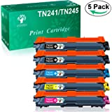 GREENSKY 5 paquets Remplacement de cartouche d'encre compatible Brother TN-241 TN-245 TN241 TN245 Convient pour Brother MFC-9330CDW HL-3170CDW DCP-9020CDW HL-3140CW MFC-9140CDN