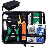 SGILE Strumenti Kit di Rete Professionali, Pinza Crimpatrice rj45, Manutenzione del Computer Kit LAN Tester del Cavo 9 in 2 S