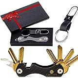 Smart Key Holder Key Organiser Compact Key Holder Made of Carbon Fiber Keyport Pivot Key Ring Keychain Organizer UP to 28 Key