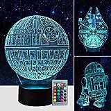 Airnogo 3D Star Wars Lamp - Star Wars Gifts - 3 Pattern & 1 Base & 1 Remote - Star Wars R2-D2 / Death Star/Millennium Falcon