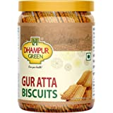 Dhampure Speciality Gur Atta Cookies Whole Wheat Flour Biscuit with Saunf Fennel Seeds, Jaggery Cookies Healthy Snacks with N