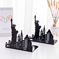 "oddpod™ Liberty Laser-Cut Metal Bookends for Office Decor/Book Shelf/Living Room/Home Décor 1339 6.5"" - Black"