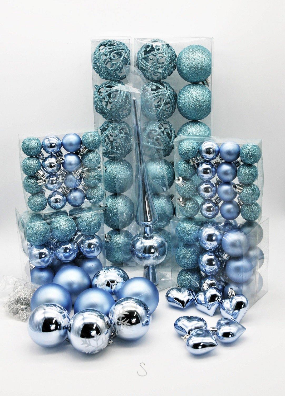 Geschenkestadl-101-teilig-Weihnachtskugel-Herz-Kugel-mit-Schneeflocke-Christbaumspitze-mit-100-Metallhaken-Anhnger-Baumschmuck-Weihnachten