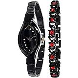 PAPIO Diamond Studded Analogue Black Dial Women's Watch with Black Color Bracelet P-WC 5008