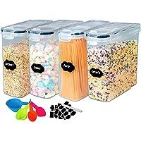 4L Boite de Rangement hermétique Lot de 4 - Boîte de Conservation Plastique Alimentaire Sans BPA, Pour Céréales, Farine…