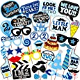 WOBBOX Second Birthday Photo Booth Party Props Blue for Baby Boy , 2nd Birthday Decorations for Boys , Kids Birthday Party Decoration Items